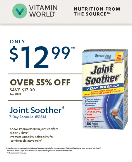 Vitamin World Coupon – Joint Soother Only $12.99
