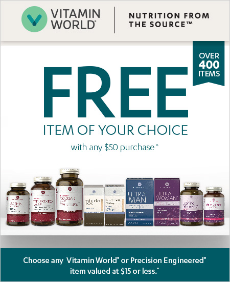 Vitamin World Coupon – Free Item With $50 Purchase