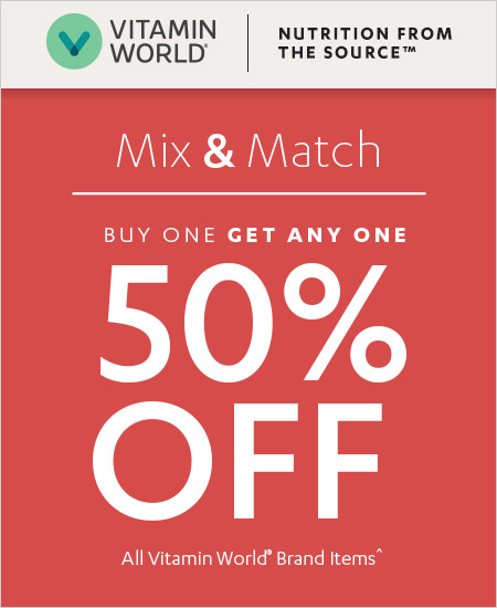 Vitamin World Coupon – Buy One Get One 50% Mix & Match