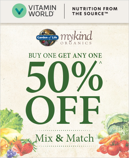 Vitamin World Coupon – Garden Life mykind Organics BOGO 50% Off