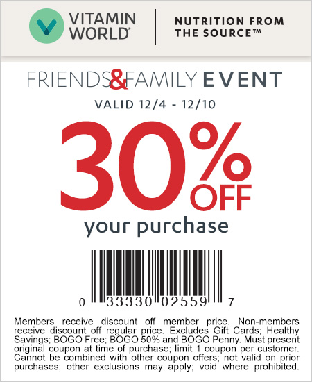 Vitamin World Coupon – 30% OFF