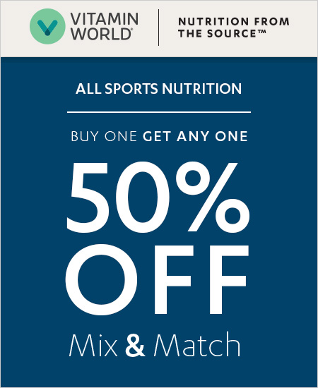 Vitamin World Coupon – Buy One Get One 50% OFF All Sports Nutrition Items