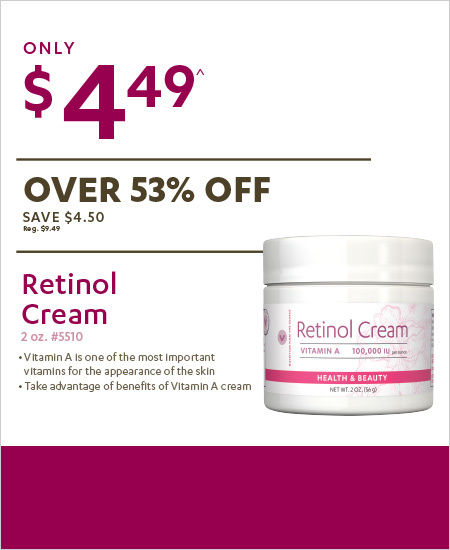 Vitamin World Coupon – Retinol Cream 2 for $4.49