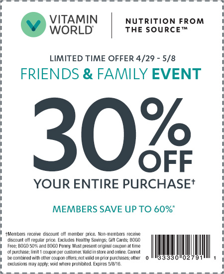 Vitamin World Coupon – Friends & Family Event, 30% OFF Your Entire Purchase