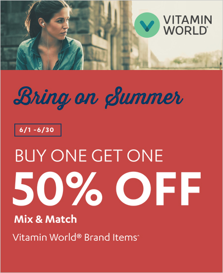 Vitamin World – Bring on Summer, Buy One Get One 50% OFF Mix & Match Brand Items