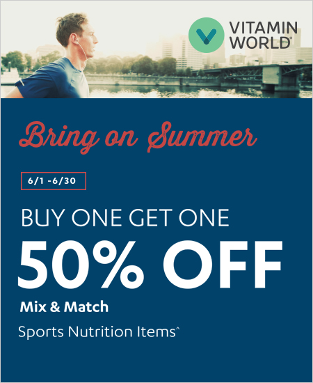 Vitamin World – Bring on Summer, Buy One Get One 50% OFF Sports Nutrition Items