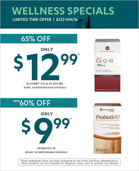 All Vitamin World – Wellness Specials, Q-Sorb Co Q-10 65% OFF, Probiotic 10 60% OFF