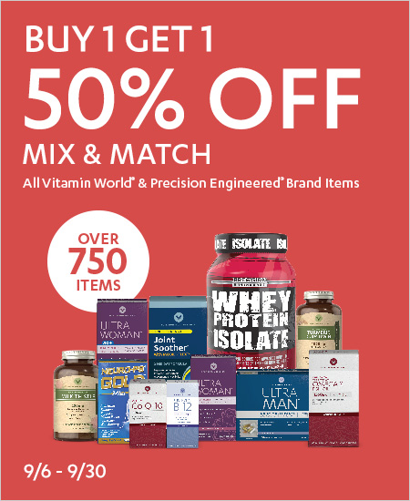 All Vitamin World & Precision Engineered – Mix & Match, Buy One Get One 50% Off Over 759 Items Available
