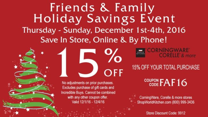 Friends & Family Holiday Savings Event