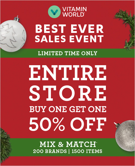Vitamin World – Best Ever Sale Event, Buy One Get One 50% OFF Entire Store, Mix & Match