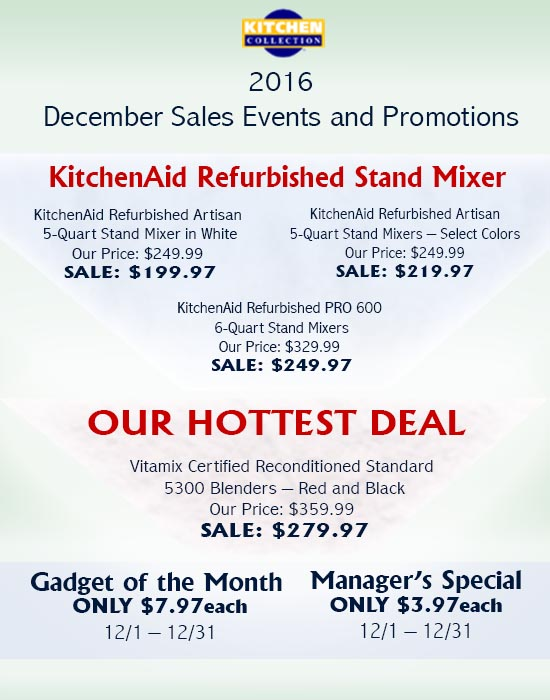 Kitchen Collection – December Sales Events and Promotions