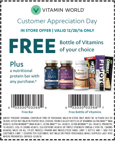 Coupon vitamin world
