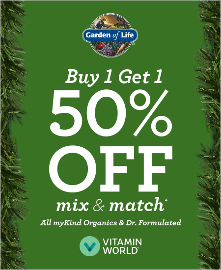Garden of Life – But 1 Get 1 50% OFF, Mix & Match All myKind Organics & Dr. Formulated*