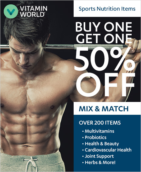 Vitamin World – Mix & Match, Buy One Get One 50% OFF Over 200 Sports Nutrition Items
