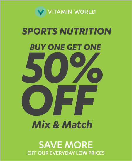 Vitamin World  – Mix & Match, Sports Nutrition, Buy One Get One 50% OFF