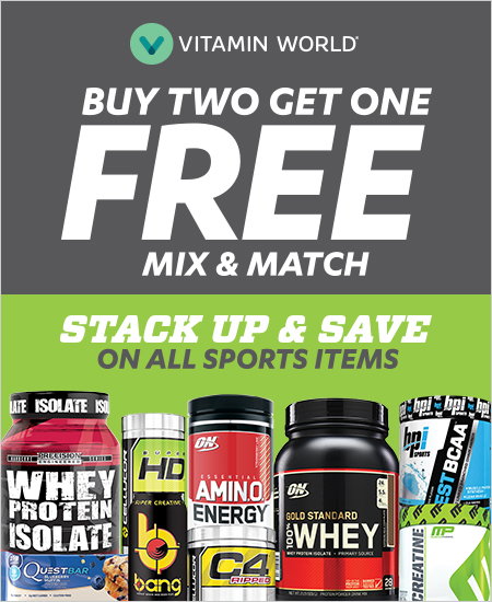 Vitamin World – All Sports Items, Mix & Match, Buy Two Get One FREE