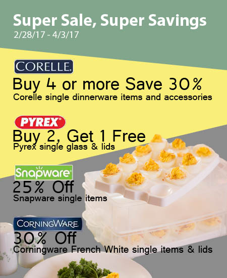 New Promotions for the Corningware Corelle & more Stores