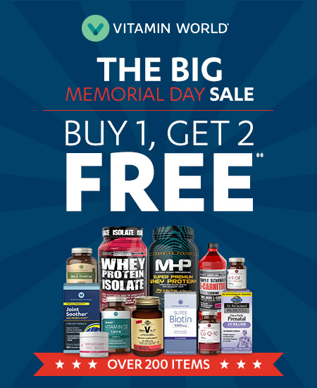 Vitamin World – The Big Memorial Day Sale, Buy 1 Get 2 Free‡‡
