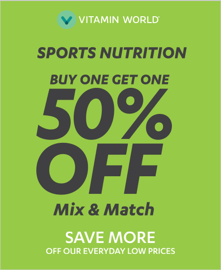 Vitamin World – Sports Nutrition, Buy One Get One 50% OFF