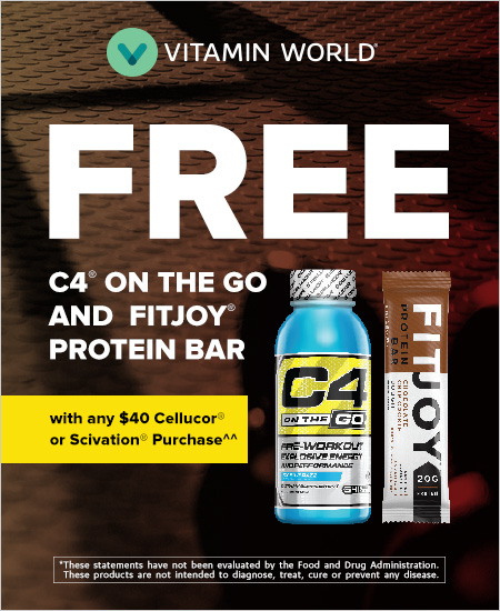 Vitamin World – Free C4 on-the-go and Bar with any $40 Cellucor or Scivation Purchase