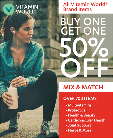 Vitamin World – BOGO 50% Mix & Match on All Vitamin World Brand Items