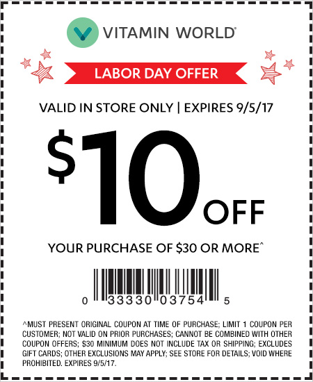 Vitamin World – Labor Day Offer