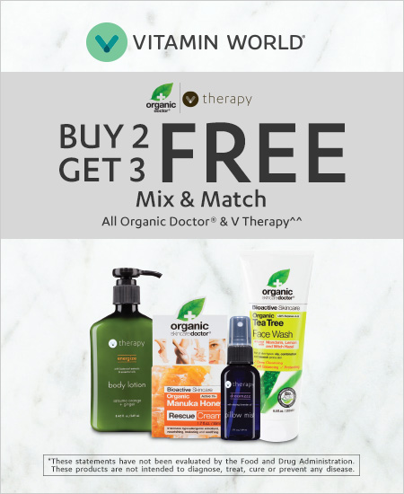Vitamin World – Buy 2 Get 3 Free Mix & Match all Organic Doctor & V Therapy