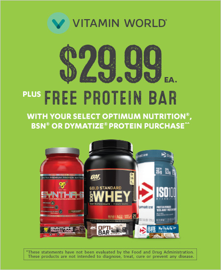 Vitamin World – Select Proteins $29.99 & Free Bar with Select Purchase