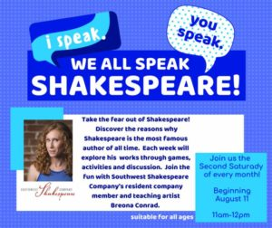 I Speak, You Speak, We All Speak Shakespeare! @ Youth Activity Room