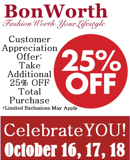 Bon Worth Coupon: Take 25% Off Total Purchase