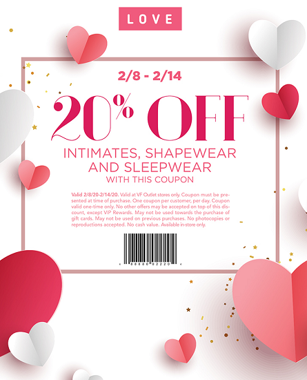 VF Outlet Intimates Sale – Take 20% off Intimates, Shapewear and Sleepwear Feb 8th – Feb 14th.