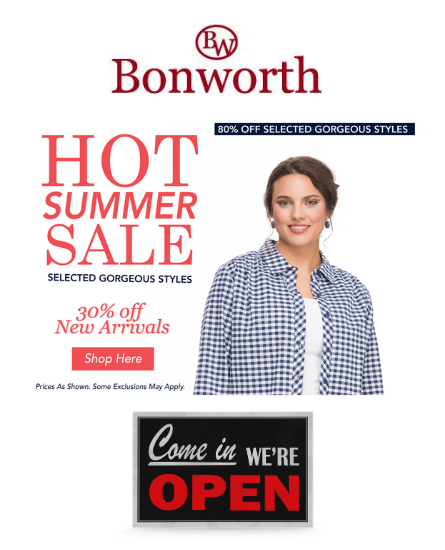 Bon Worth is OPEN with a Summer Sale!
